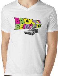 Delorean Back to the Future 80s Style Mens V-Neck T-Shirt