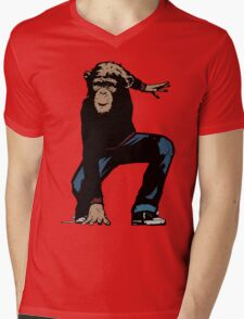 Monkey Street Fighter Mens V-Neck T-Shirt