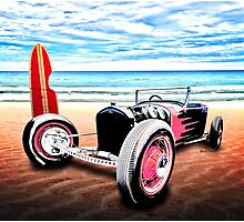 T Rat Rod at the Beach DownUnder Photographic Print