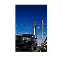 SUV on Nelson Mandela Bridge - In Cartoon Rendition v02 Art Print