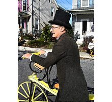 Old Fashioned Bicyclist Photographic Print