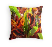 Croton Leaves-(Floral Macro) Throw Pillow
