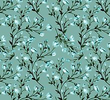 Blue flowers pattern by JuliaBadeeva