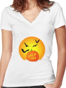 Halloween Moon Women's Fitted V-Neck T-Shirt