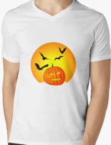 Halloween Moon Mens V-Neck T-Shirt