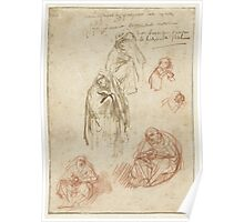 Drawing - Studies of grieving Marys, Rembrandt Harmensz. van Rijn, 1635 - 1636  Poster