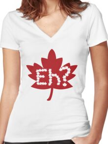 EH canada day Women's Fitted V-Neck T-Shirt