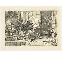 Drawing - The Holy Family with the Cat and Snake, Rembrandt Harmensz. van Rijn, 1654  Photographic Print