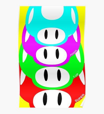 Super Mario Warhol Mushroom Poster Poster