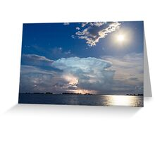 Lightning Thunderstorm Cell and Moon Greeting Card