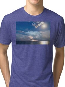Lightning Thunderstorm Cell and Moon Tri-blend T-Shirt