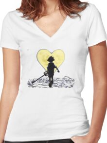Kingdom Hearts Sora Walking Women's Fitted V-Neck T-Shirt