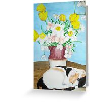 Cat Nap and Flowers Greeting Card
