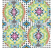 Colorful Bohemian Swirly Abstract Pattern On Polka Dot  Photographic Print