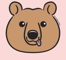 Brown Bear Face with lolling tongue Kids Clothes