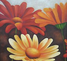 Orange, Red Abstract Acrylics on Canvas, Mum Group Set Painting by diasha