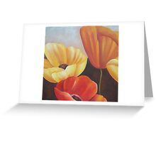 Orange, Red, Colorful Decoration Flower Group Paintings Greeting Card