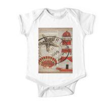 shabby chic vintage sea shells nautical lighthouse  One Piece - Short Sleeve