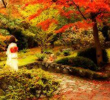 Japanese Garden in Fall Colour by Olga Zvereva