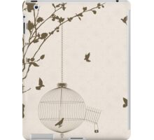 Vintage style card with bird silhouettes and birdcage iPad Case/Skin