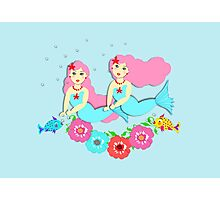Cute Mythical Mermaids Colorful Whimsical Design Photographic Print