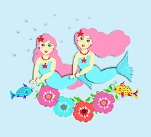 Cute Mythical Mermaids Colorful Whimsical Design by Artification