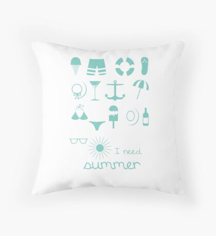 I need summer - blue Icons Throw Pillow