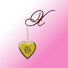 X Golden Heart Locket by Chere Lei