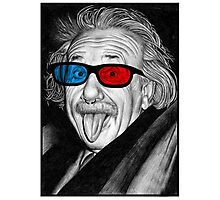 Albert Einstein 3d Glasses Piercing Photographic Print