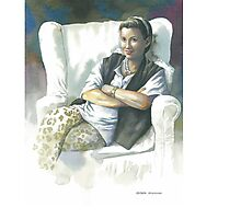 Portrait of Sue S. in white chair Photographic Print