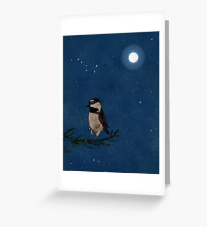 Chickadee at Night, Big Dipper, Moon Greeting Card