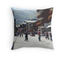 Tourism in Zermatt Switzerland Throw Pillow