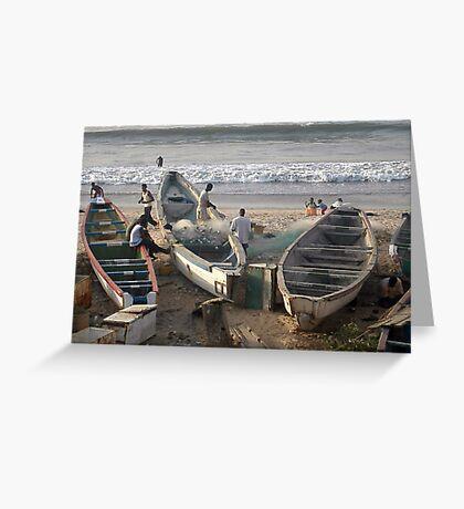 Fishermen at Bacau  Greeting Card
