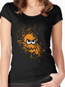 Splatoon Black Squid with Blank Eyes on Orange Splatter Mask Women's Fitted Scoop T-Shirt