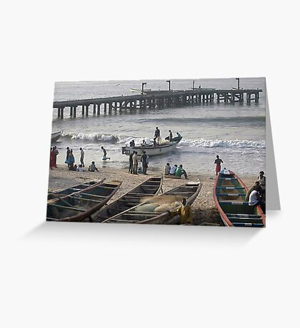 fishing boats come in Greeting Card