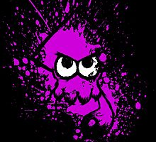 Splatoon Black Squid with Blank Eyes on Purple Splatter Mask by Martin Mothiron