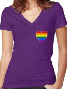LGBT pride heart Women's Fitted V-Neck T-Shirt