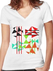 Trendy Bold Bright Colorful Abstract Geometric Design Women's Fitted V-Neck T-Shirt