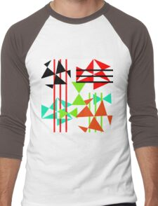Trendy Bold Bright Colorful Abstract Geometric Design Men's Baseball ¾ T-Shirt