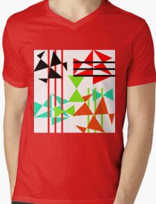 Trendy Bold Bright Colorful Abstract Geometric Design Mens V-Neck T-Shirt