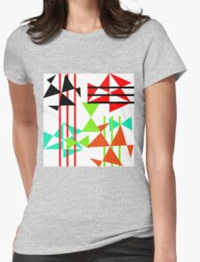 Trendy Bold Bright Colorful Abstract Geometric Design Womens Fitted T-Shirt