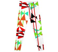 Trendy Bold Bright Colorful Abstract Geometric Design Leggings