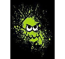 Splatoon Black Squid with Blank Eyes on Green Splatter Mask Photographic Print