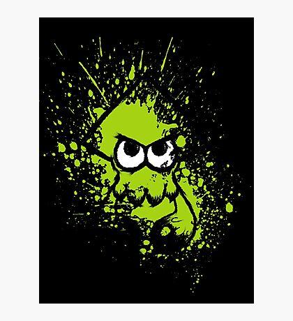 Splatoon Black Squid with Blank Eyes on Green Splatter Mask Photographic Print
