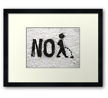 PEE, No Peeing, No pissing, taking the piss, having a pee, wee wee Framed Print