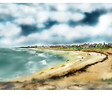 Elie Shorefront [Digital Landscape and Architecture Illustration] Scottish Seaside Towns by Grant Wilson