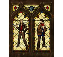 Arthur & Merlin stained glass Photographic Print