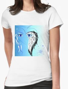 Beauty woman's face, wings and butterflies Womens Fitted T-Shirt