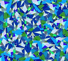 Geometric abstraction in blue and green by NataliSven