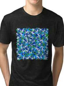 Geometric abstraction in blue and green Tri-blend T-Shirt